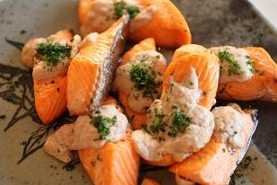秋鮭の白子焼き|千葉県浦安市の料理教室 熊谷真由美のラクレムデクレム
