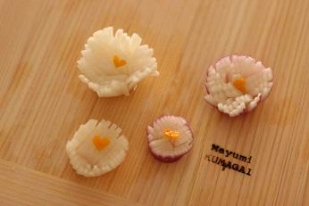 飾り切り 大根 菊|東京ベイ千葉県浦安市の料理教室 熊谷真由美のラクレムデクレム