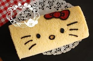 東京ベイ新浦安お菓子教室|キティちゃんのデコロールケーキ 図案