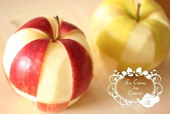 市松りんごの飾り切り 薔薇|料理研究家の料理教室 熊谷真由美のラクレムデクレム