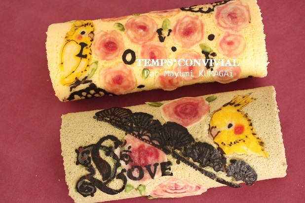 お菓子教室|千葉県繊細薔薇 デコロールケーキ