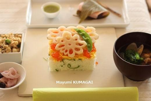 花れんこんの酢ばすといくらと錦糸卵でおもてなしのちらし寿司のおもてなし料理教室の試食前