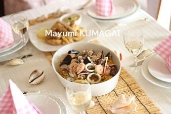 夏のすだれをつかったフランス料理のおもてなしテーブルコーディネート