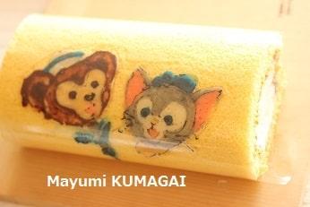 千葉県東京ベイの個人のお菓子教室|キティちゃんのデコロールケーキ 図案