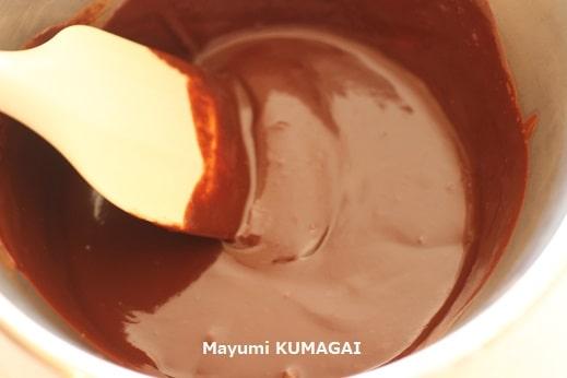 生クリーム不使用で板チョコとオレンジジュースを乳化させてつくるトリュフの中身ガナッシュのレシピ・作り方