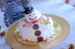 スノーマンのショートケーキ